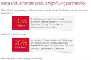 Promoção Santander Iberia 20% Superbonus
