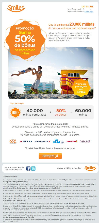 Smiles - Promoção de bônus na compra de milhas 2014-03-12