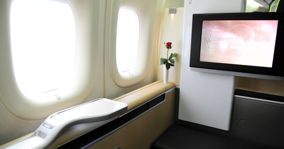 Visão da Primeira Classe no Boeing 747-800