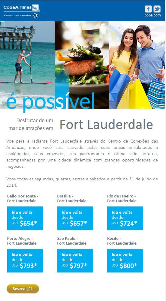 Copa voando para  Fort Lauderdales