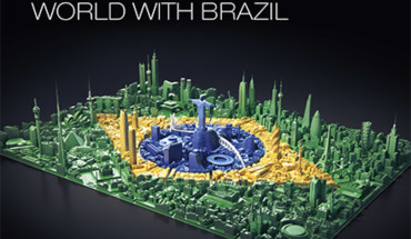 THE WAY BRAZIL CONNECTS WITH THE WORLD uses a visual metaphor of the Brazilian flag being formed out of 3D iconic buildings from across the globe.
